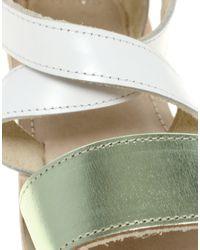 ASOS - Metallic Asos Flipper Flat Leather Sandals  - Lyst