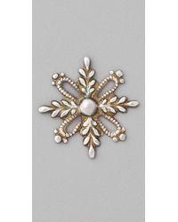 Bing Bang - White Mini Victorian Snowflake Studs - Lyst