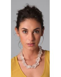 Kenneth Jay Lane - White Crystal Natural Rock Gold Chain Necklace - Lyst
