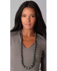 Kenneth Jay Lane - Metallic Pave Hematite Bead Necklace - Lyst