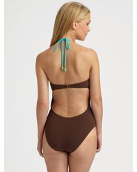 MILLY | Brown One-piece Strapless Swimsuit | Lyst