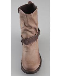 Pour La Victoire - Brown Reno Flat Moto Boots - Lyst