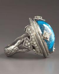 Armenta - Blue Topaz Dome & Diamond Ring - Lyst