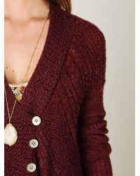 Free People | Red Cable Swing Cardigan | Lyst