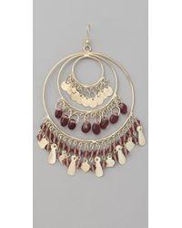 Kenneth Jay Lane Metallic Gold 3 Ring Gypsy Hoop Earrings