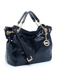 Michael Kors | Black Jet Set Chain Shoulder Tote Python-embossed  | Lyst