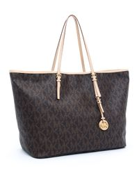 Michael Kors | Jet Set Large Travel Tote, Brown | Lyst