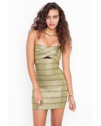 nasty gal sweet bandage dress  gold in metallic  lyst