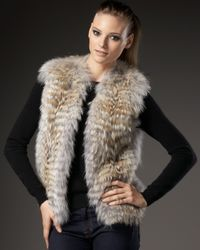 Sofia Cashmere | Natural Feathered Coyote Vest | Lyst