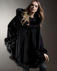 Sofia Cashmere | Black Fox-trimmed Cashmere Cape | Lyst