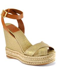 Tory Burch | Metallic Criss Cross Ankle Strap - Gold Linen Espadrille Wedge | Lyst