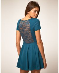 ASOS Collection - Blue Lace Back Dress with Skater Skirt - Lyst