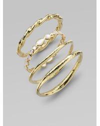 Ippolita | Metallic 18K Yellow Gold Hammered Bracelet | Lyst