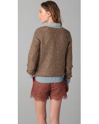 Madewell | Brown Metallic Crew Neck Sweater | Lyst