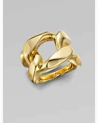 Michael Kors Metallic Structured Chain Link Ring/Goldtone