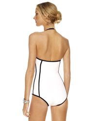 Michael Kors - White Seamed Solids Retro Maillot Swimsuit - Lyst