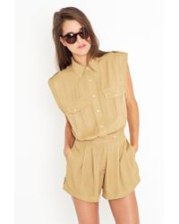 Nasty Gal | Natural Stella Safari Romper - Tan | Lyst