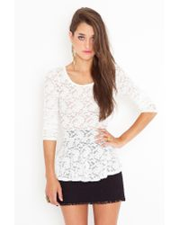Nasty Gal - White Lace Peplum Top - Lyst