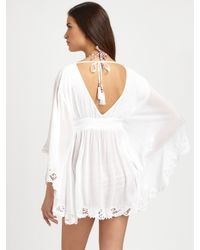 OndadeMar - White Tassle-Tie V-Neck Dress - Lyst