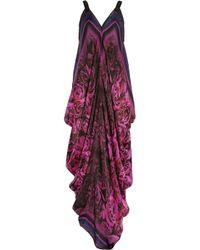 Roberto Cavalli | Multicolor Draped Floral-Print Silk-Chiffon Gown | Lyst