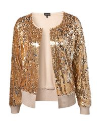 TOPSHOP | Metallic Knitted All-Over Sequin Jacket | Lyst
