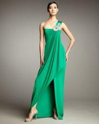 Hoaglund New York - Green Beaded Drape Gown - Lyst