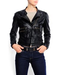 Mango - Black Biker Leather Jacket - Lyst