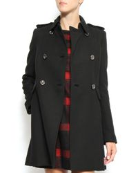 Mango - Black Double Breasted Coat - Lyst