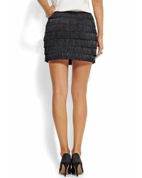 Mango - Black Fringed Detail Skirt - Lyst