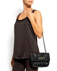 Mango | Black Sequin Embellised Handbag | Lyst