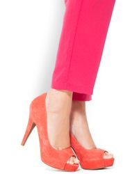 Mango | Pink Touch - Suade Peep-Toe | Lyst