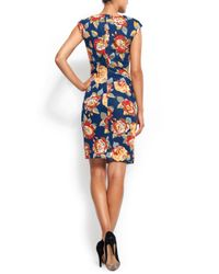 Mango - Blue Flowery Dress - Lyst