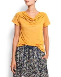 Mango Yellow Cowl Neck T-shirt