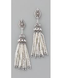 Miguel Ases | White Pearl Tassel Earrings with Pyrite Quartz | Lyst