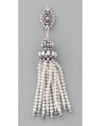 Miguel Ases - White Pearl Tassel Earrings with Pyrite Quartz - Lyst