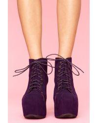 Nasty Gal | Lita Platform Boot - Purple Suede | Lyst