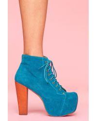 Nasty Gal | Blue Lita Platform Boot - Turquoise Suede | Lyst