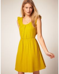 ASOS Collection - Yellow Asos Belted Dress with Scoop Neck - Lyst