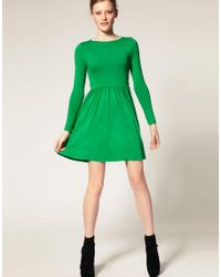 ASOS Collection | Green Asos Petite Skater Dress with Gathered Waist | Lyst