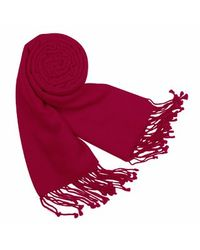 FORZIERI - Red Solid Pashmina & Silk Fringed Shawl - Lyst