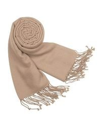 FORZIERI | Natural Solid Pure Pashmina Fringed Shawl | Lyst