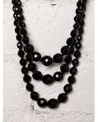 Free People - Black Vintage Austrian Crystal Necklace - Lyst