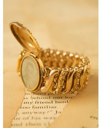 Free People - Metallic Vintage Gold Stretch Locket Bracelet - Lyst