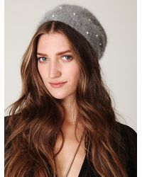 Free People | Gray Pearl Beaded Beanie | Lyst
