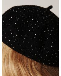 Free People | Black Encrusted Beret | Lyst