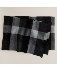 J.Crew - Black Plaid Wool Scarf for Men - Lyst