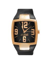 Just Cavalli - Black Lusa - Square Rose Gold Plated Dial and Leather Watch - Lyst