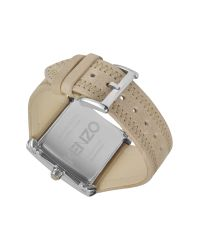 KENZO | Gray Oki- Stainless Steel Square Watch with Beige Leather Strap | Lyst