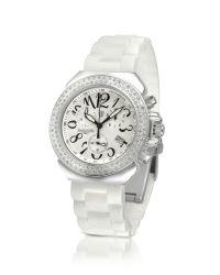 Lancaster - White Pillo Diamond Silicone Band Chrono Watch - Lyst