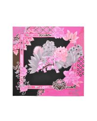Leonard - Black and Pink Floral Printed Silk Square Scarf - Lyst